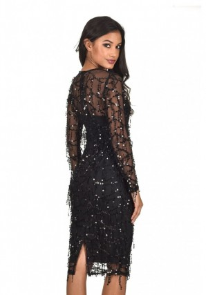 Women's Black 3/4 Sleeve Sequin Dress
