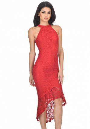 Women's Red Racer Neck Lace Fish Tail Dress