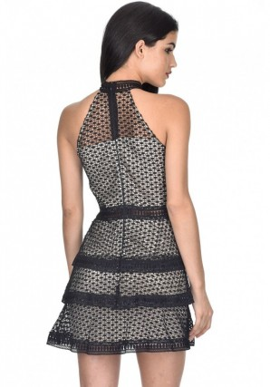 Women's Black Crochet Overlay Dress