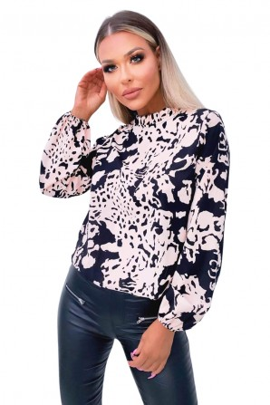Women's Black Nude Abstract Print High Neck Blouse