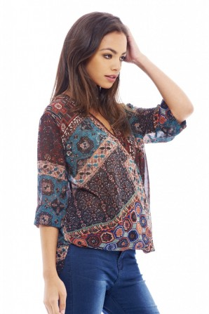 Women's Aztec Printed Crossover Multi Top
