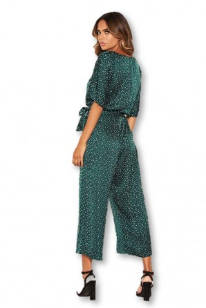 Women's Green Polka Dot Culotte Jumpsuit