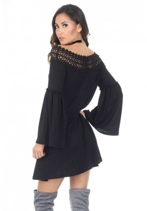 Women's Black Flared Sleeve Swing Dress
