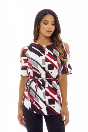 Women's Cold Shoulder Printed  Multi Top