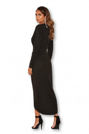 Women's Wrap Front Black Sparkle Midi Dress