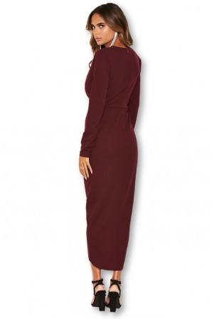 Women's Wrap Front Plum Midi Dress