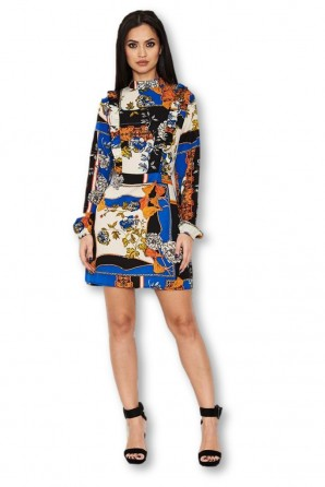 Women's Blue Printed Frill Day Dress