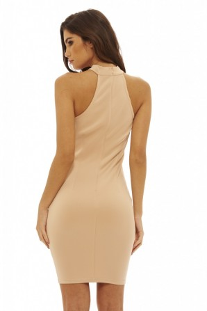 Women's Cut Out Bodycon  Nude Dress