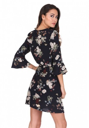 Women's Navy Floral Print Frill Sleeve Dress