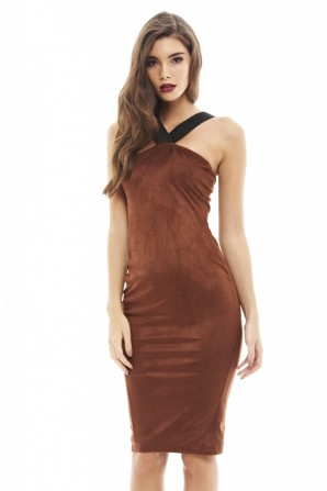 Women's Strap Detail Suede Midi Rust Dress