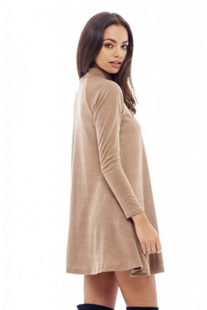 Women's Turtle Neck Swing Camel Dress