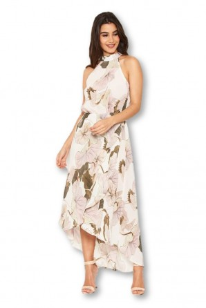 Women's Cream Pleated Halterneck Midi Dress