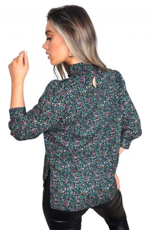 Women's Multi Floral High Neck Mid Sleeve Top