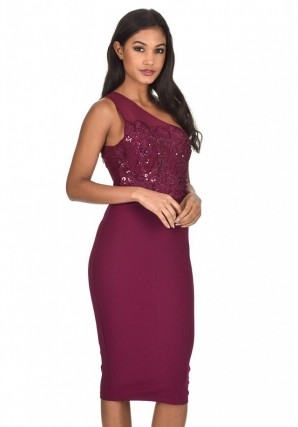 Women's Plum One Shoulder Sequin Embroidered Bodycon