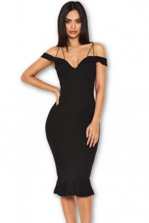 Women's Black Strappy Fishtail Off The Shoulder Dress