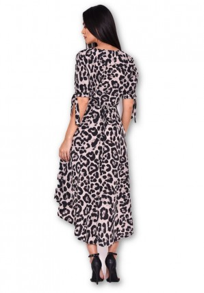 Women's Animal Print Tie Detail Dress