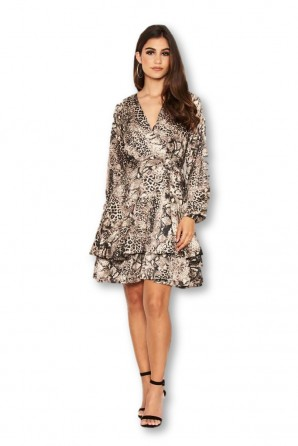 Women's Snake Print Frill Wrap Dress