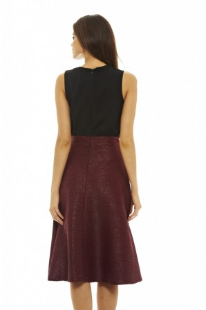 Women's 2 in 1 Midi   Burgundy Dress