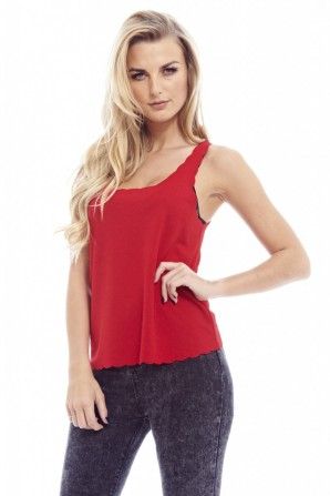 Women's Plain Scallop Edge Red Top
