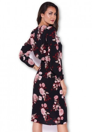 Women's Black Floral Long Sleeve Wrap Dress