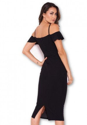 Women's Black Midi Dress With Frill Detail