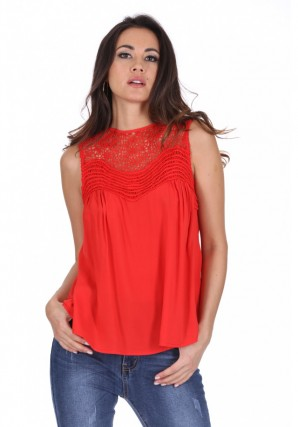 Women's Red Crochet Top