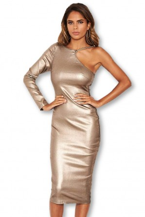 Women's Grey One Shoulder Midi Dress With Chain Detail