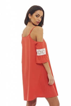 Women's Cut Out Shoulder Swing  Coral Dress