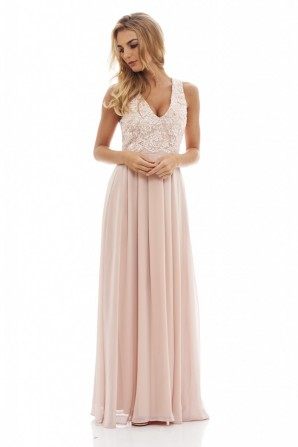 Women's Beige Lace Top Maxi Dress