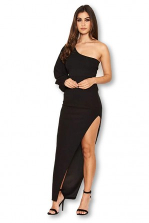 Women's Black One Sleeve Asymmetrical Bodycon Maxi Dress