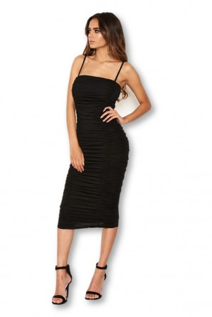 Women's Black Ruched Strappy Bodycon Midi Dress