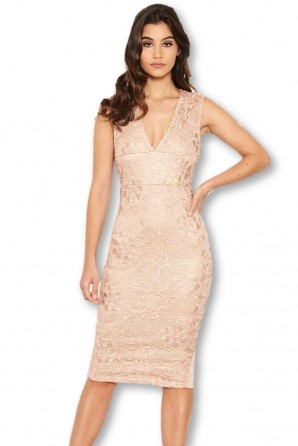 Women's Nude Midi Dress With Lace Contrast Front