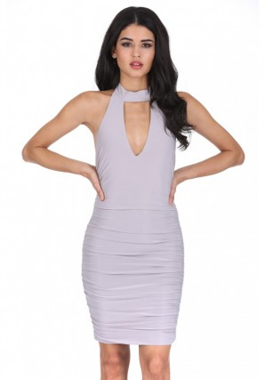 Women's Silver V Neck Choker Neck Ruched Dress
