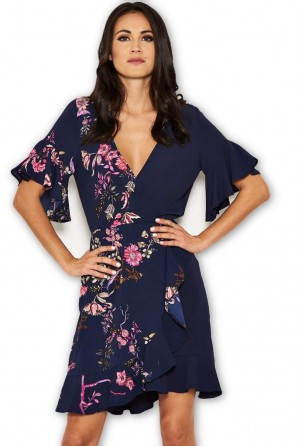 Women's Navy Floral Frill Dress