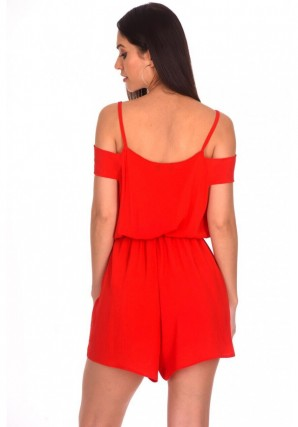 Women's Red Cold Shoulder Wrap Front Romper