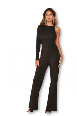 Women's Black One Shoulder Sparkle Jumpsuit