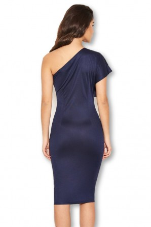 Women's Navy Frill Front Bodycon Dress