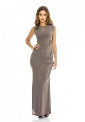Women's Wrap Front Slinky Maxi  Grey Dress