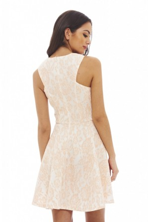 Women's All Over Lace Skater Pink Dress