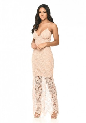 Women's Blush Lace Maxi Dress