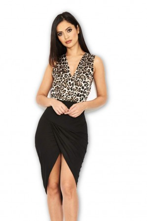Women's Cream And Black Animal Print Midi Dress