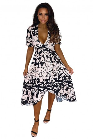 Women's Black Nude Abstract Print Wrap Midi Dress
