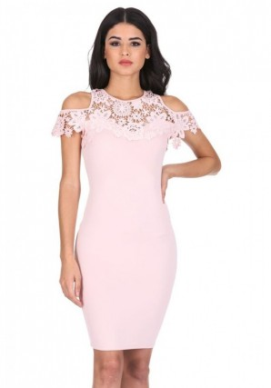 Women's Pink Cold Shoulder Crochet Dress