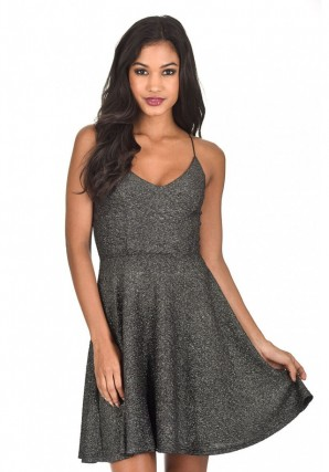 Women's Black Sparkly Strappy Skater Dress