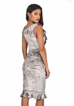 Women's Grey Velvet Bodycon Dress With Frill Detail
