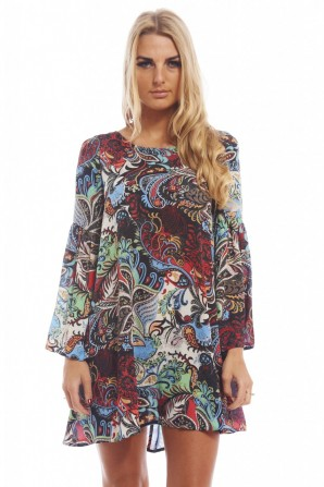 Women's Chiffon Multi Printed Flaremulti Dress