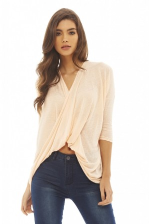 Women's Knitted Wrap Front  Peach Top