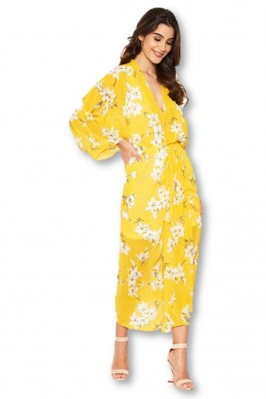 Women's Yellow Floral Kimono Sleeve Dress