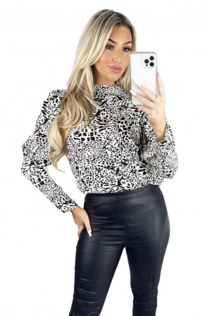 Women's Cream Multi Print Puff Sleeve Cuff Top