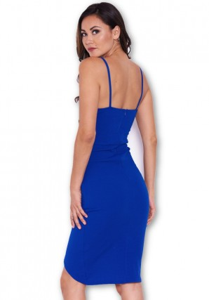 Women's Blue V Front Strappy Bodycon Dress